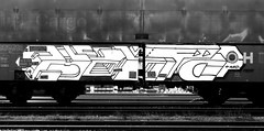 graffiti on freights (wojofoto) Tags: graffiti streetart freighttraingraffiti freighttrain fr8 freights cargotrain vrachttrein amsterdam nederland holland wojofoto wolfgangjosten delta blackandwhite zwartwit monochrome schwarzweiss