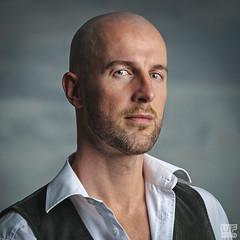 Tomi 01 - second edit (WF portraits) Tags: svk man male model studio portrait face shavedhead white shirt gilet gym fitness beard muscles waistcoat