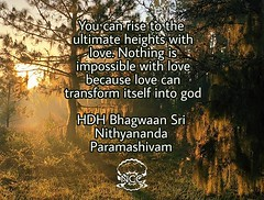 @srinithyananda - 'You can rise to the ultimate heights with love. Nothing is impossible with love because love can transform itself into god.' — HDH Bhagwaan Sri Nithyananda Paramashivam His Divine Holiness Bhagwan Sri Nithyananda Paramashivam is creatin (sri.sadyojata) Tags: enlightenment consciousness awakening integrity responsibility enriching authenticity transformation yoga meditation