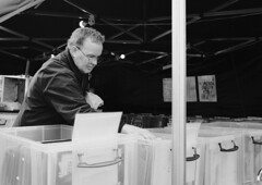 Vinyl Hunter (Bury Gardener) Tags: burystedmunds britain suffolk streetphotography street streetcandids snaps strangers candid candids people peoplewatching fujixt3 fuji england eastanglia 2019 bw blackandwhite monochrome mono