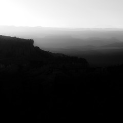 Vanishing Landscape 025 (noahbw) Tags: brycecanyon d5000 nikon utah abstract autumn blackwhite blackandwhite bw canyon desert erosion fog foggy horizon landscape minimal minimalism mist misty monochrome mountains natural noahbw quiet silhouette sky square still stillness