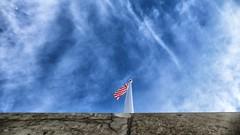 Stripes (jo.misere) Tags: vlag flag margraten wall muur lucht sky wolken clouds blauw blue