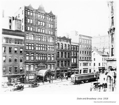 circa  1918  State and Broadway with  Hampton hotel (albany group archive) Tags: early 1900s old albany ny vintage photos picture photo photograph history historic historical