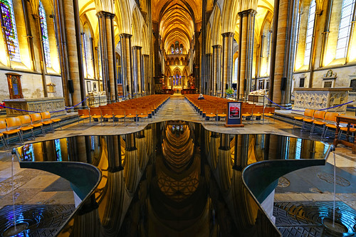 Wonderful reflection in the Font of Salisbury Cathedral, UK
