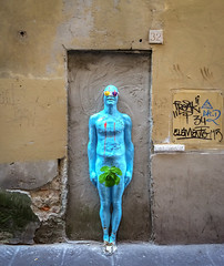 Work by Urbansolid in Florence (Tigra K) Tags: florence tuscany italy it 2014 city color funny graffiti iphone nude sculpture statue wall art