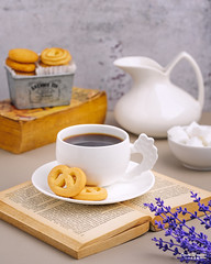 Coffee and Cookies (omer.arahman) Tags: butter cookies coffee break book black white brew fresh breakfast lavender purple