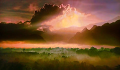 French Polynesia - Sunset (Jacques Rollet (very little available)) Tags: frenchpolynesia sunset couchant ciel sky cloud nuage brume mountain montagne fog brouillard forêt forest groupenuagesetciel