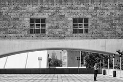 'Overarching Problem' (Canadapt) Tags: belém portugal window architecture man street lisbon canadapt bw