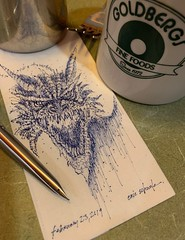 Look who joined me for breakfast (schunky_monkey) Tags: fountainpen penandink ink pen illustration art drawing draw sketching sketch napkin firebreather fantasy mythical beast creature wings dragons dragon
