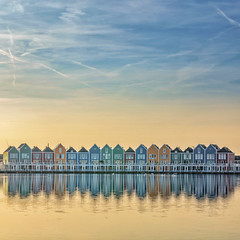 Dutch Heights (Paul Brouns) Tags: reflection houses dutch holland netherlands sunset water lake reflections spring evening architecture wooden utrecht houten sky skyline quiet peaceful swans ducks square colourful colorful saturated paulbrouns paulbrounscom photography landscape minimal minimalist horizon