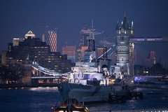HMS Belfast, Canary Wharf and Tower Bridge (ibn_sina001) Tags: towerbridge london nightlights hmsbelfast canarywharf canonphotography