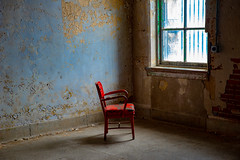 Lonely Red Chair (GDMetzler) Tags: prison decay abandoned nikon d610 tamron ohio mansfield artistic old 2470mm building chair window red blue bricks wall