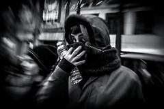 eye to eye (Gerrit-Jan Visser) Tags: bewerkt streetphotography winter scarf cold spa waterbottle eye candid vague moved blurry surprise