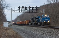 Big Blue (Eric_Freas) Tags: norfolk southern ns pittsburgh line mp 230 8098 conrail heritage unit prr position lights bellwood pennsylvania pa 19g
