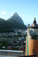 Petit Piton from Villa des Pitons, Soufriere - St Lucia (h_savill) Tags: 2019 february feb caribbean st lucia antilles windward isles holiday trip vacation exploreworldwide travel view landscape island soufriere piton stlucia town buildings bay sea water coast ocean hills