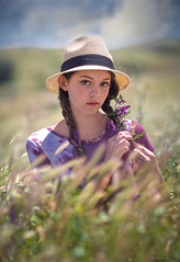 Maddy ({jessica drossin}) Tags: jessicadrossin portrait hat field grass clouds sky pretty face freckles braid wwwjessicadrossincom vetch