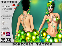 BodyCult Tattoo Ladybug Patrick by TWE12 Event (Created by nici Sewell) Tags: bodycult tatto tattoo stpatricks feste event twe12 brewery ladybug ladybirds ivy efeu marienkäfer exclusive facetattoo mardigras carnival catwa lelutka omega maitreya slink belleza nicisewell