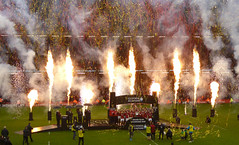 fireworks As wales are crowned grand slam winners 2019 (mds63ie) Tags: national welshrugby 2019 pyrotechnics wales rugby 6nations trophy grandslam principality ireland iru milleniumstadium cardiff