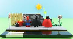 Super pee😂 2/2 (Alex THELEGOFAN) Tags: lego legography minifigure minifigures minifig minifigurine minifigs minifigurines vignette superman batman spiderman wall pee street road