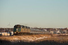 Budd's Away from Amherst - Nappan, NS (CWentzell Photography) Tags: via rail railroad railway passenger train track tracks springhill amherst nappan sub subdivision sunny afternoon january 2019 winter canon photography stainlesssteel budd budds cold f40 emd motivepower locomotive locomotives engine engines canada novascotia cn canadiannational landscape 6d 70200mm