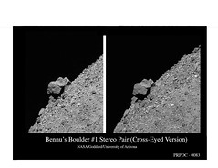 Bennu's Boulder #1 Stereo Pair (Cross--‐Eyed Version) (Lunar and Planetary Institute) Tags: bennu osiris‐rex