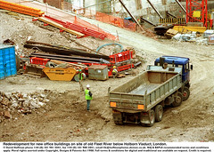 """Construction site Holborn (hoffman) Tags: brownfield building dayglo development digging earth girder helmet horizontal lorry protectiveclothing redevelopment soil steel truck work worker davidhoffman wwwhoffmanphotoscom london uk davidhoffmanphotolibrary socialissues reportage stockphotos""""stock photostock photography"""" stockphotographs""""documentarywwwhoffmanphotoscom copyright"""