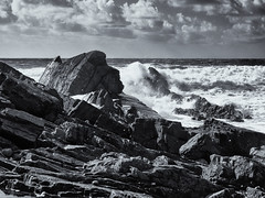 Bude coast b+w (JRPics.) Tags: waves tide surfers beach landscape surf steps nature sand hedge bude seascape sign cornwall uk sea