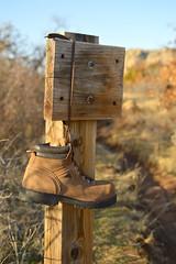 One boot at the trailhead (radargeek) Tags: oklahoma wichitamountains wildlife reserve february 2019 boots hiking wichitamountainswildliferefuge