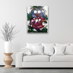 """New! """"Sweet and Deadly"""" - on the wall (MadArt70) Tags: magnus dacke madart painting tavla acrylic akryl canvas duk onwall flowers blommor color färger teath tänder comic fun roligt"""