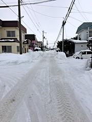View North (sjrankin) Tags: 20february2019 edited snow weather winter snowbank kitahiroshima hokkaido japan hdr neighborhood houses road poles lines wires