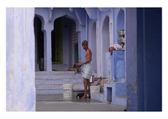 wash day blues (handheld-films) Tags: india rajasthan blue domestic chores housework wash washing man courtyard home building interior indian architectural serenity tranquillity calm individual quiet travel