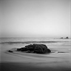 Crescent Bay, Laguna Beach at dusk. Fuji Acros100 film (remy_SloGraFik) Tags: 6x6 fujiacros100 kodakhc110b tessar135f75mmcarlzeiss lagunabeachca blackandwhite120film