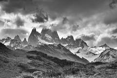 Mount Fitz Roy (RobertLx) Tags: nature monochrome silver bw clouds sky mountain theandes elchaltén patagonia argentina america southamerica view travel fitzroy border chile grass 64 laságuias senderodelaságuias hikingtrail hiking losglaciaresnationalpark landscape nationalpark unescoheritage