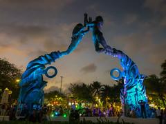 Portal Maya at Parque Fundadores at Night - Playa del Carmen Mexico (mbell1975) Tags: playadelcarmen quintanaroo mexico mx portal maya parque fundadores night playa del carmen mex evening yucatán yucatan mexican statue sculpture