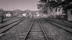 Rails à Gap (cassandredahoui) Tags: rails géométrique geometric chemindefer ville gap villedegap monochrome bw nb noiretblanc blackandwhite