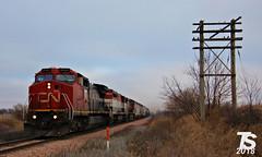 2/2 CN 2151 Leads WB L571 Manifest Iowa Falls, IA 12-21-18 (KansasScanner) Tags: iowafalls alden iowa williams cn bcol train railroad cic