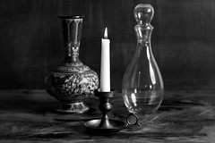 still life (fireball.studios) Tags: still life stilllife black white blackwhite vase candle glass art