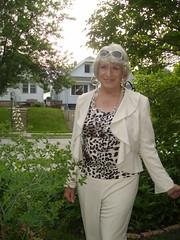 A Brief Change Of Pace (Laurette Victoria) Tags: laurette blonde pantssuit animalprint woman