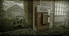 It Was A Very Good Year (larisalyn (Rachel)) Tags: vintage garage car vintagecar coke vintagecoke secondlife monochrome sepia blackandwhite