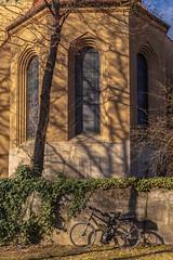 2019 Bike 180: Day 27, February 24 (suzanne~) Tags: 2019bike180 bike bicycle day27 ride27 munich bavaria germany church tree wall winter
