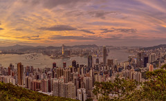 time passes but memories remain (Wizard CG) Tags: victoria peak lugard road hong kong sunset morning wide angle panorama cityscape harbour kowloon central skyscrapers high cloudy skyline outdoor sky city olympus epl7
