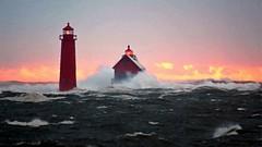Stormy Sunset (Dry Brush Effect 2 24 2019) (PhotoDocGVSU) Tags: lakemichigan greatlakes lighthouse winter winterwonderland sony7r3 sunset artisticfilter drybrush grandhavenmi colorful photoshop abstract