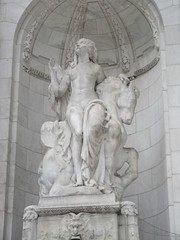 Beauty Lady Statue the New York Public Library 2905 (Brechtbug) Tags: 2019 library lady profile beauty statue outside new york public young woman fountain seated sphinx 42nd street 5th avenue nyc 03032019 statues sculpture animal women winter weather water basin stone wisdom