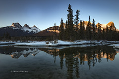 Three sisters beauty (Canon Queen Rocks (2,940,000 + views)) Tags: canada canmore threesisters alberta calgary reflections sky scenery scenic trees mountains sunrise light landscape landscapes landschaft water reds snow nature naturephotography momentsbycelinecom ice policemanscreek rockies
