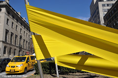 Off To The Races (Trish Mayo) Tags: publicart parkavenue yellow sculpture art josephlapiana taxi cab taxicab