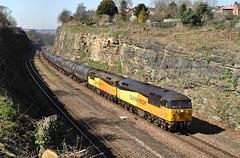 Double-Headed Grids In The Cutting. (Neil Harvey 156) Tags: railway 56113 56090 horburycutting horbury prestondockstanks prestontanks bitumentanks 6e32 class56 colasrail colas grid doubleheaded