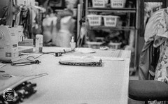 Workspace (tragge8) Tags: film theater work portraits old black white grain ilford 3200 delta costumes lighting bokeh depth stage