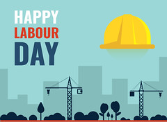 Happy Labour Day Vector Template (graphicstall) Tags: labour day business construction person white people worker isolated sign work safety helmet job happy workers may illustration internet design card symbol holiday flat banner celebration creative international message modern style mayday rights union background revolution socialism strong party employers man freedom yellow