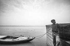 odds and ends, Varanasi (subhajyoti) Tags: varanasi ganges riverside boatman blackandwhite monochrome india subhajyotiroychowdhury ghats