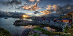 Sunset at Statles Rorbuer (marko.erman) Tags: norway nordland village fishermen sea mountains water clouds beautiful sony scenic idyllic nature outdoor outside travel popular quiet serenity pure transparency landscape nordic steep sunny montagne ciel paysage eau lac mer rorbuer houses red dwelling reflections lofoten mortsund statles sunset fishermenvillage